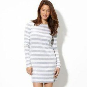Michael Kors Sequined Striped Gray White Dress XL